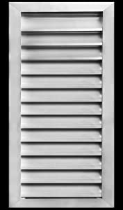 "14""w X 30""h Aluminum Outdoor Weather Proof Louver - Rain & Waterproof Air Vent with Screen Mesh - HVAC Grille - Aluminum [Outer Dimensions 15.75""w x 31.75""h]"