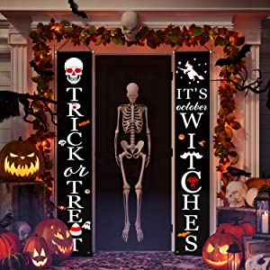 Halloween Decorations Outdoor, Halloween Decor Porch Sign, Trick Or Treat & It's October Witches Halloween Hanging Banner for Front Door, Indoor, Home, Yard and Party, Scary halloween decoration
