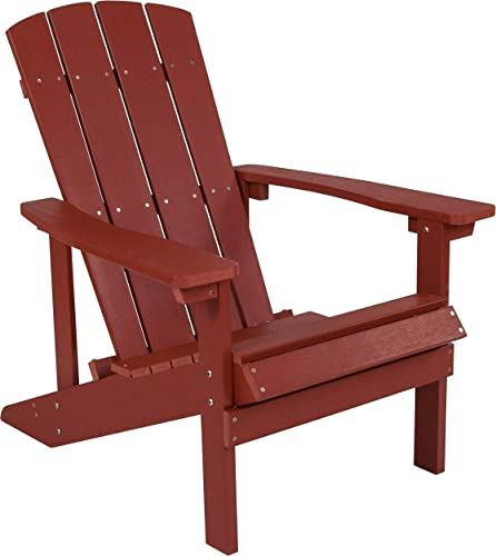 Flash Furniture Charlestown All-Weather Adirondack Chair in Red Faux Wood, JJ-C14501-RED-GG