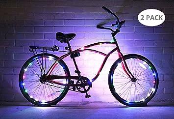 Hafiot Luz Rueda Bicicleta, Bici LED Moto Carretera Ciclismo Bicleta Impermeable Nocturna Ultra Brillante Luces 2 Modos Azul Rojo - Conjunto de 2 MC: ...