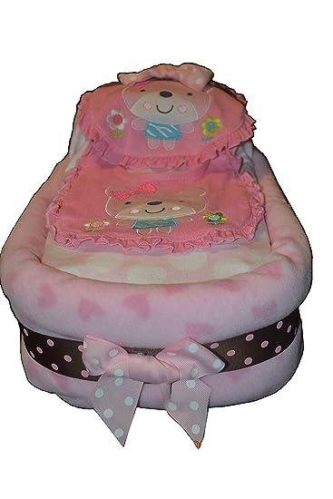 Amazon.com: Grande Rosa tarta de pañales para bebé niña ...