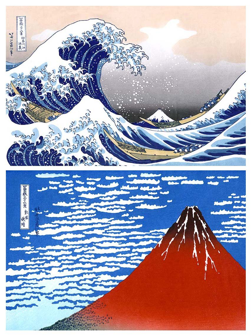 Buttonsmith Katsushika Hokusai Great Wave Japanese Art Magnet Set - Made in the USA