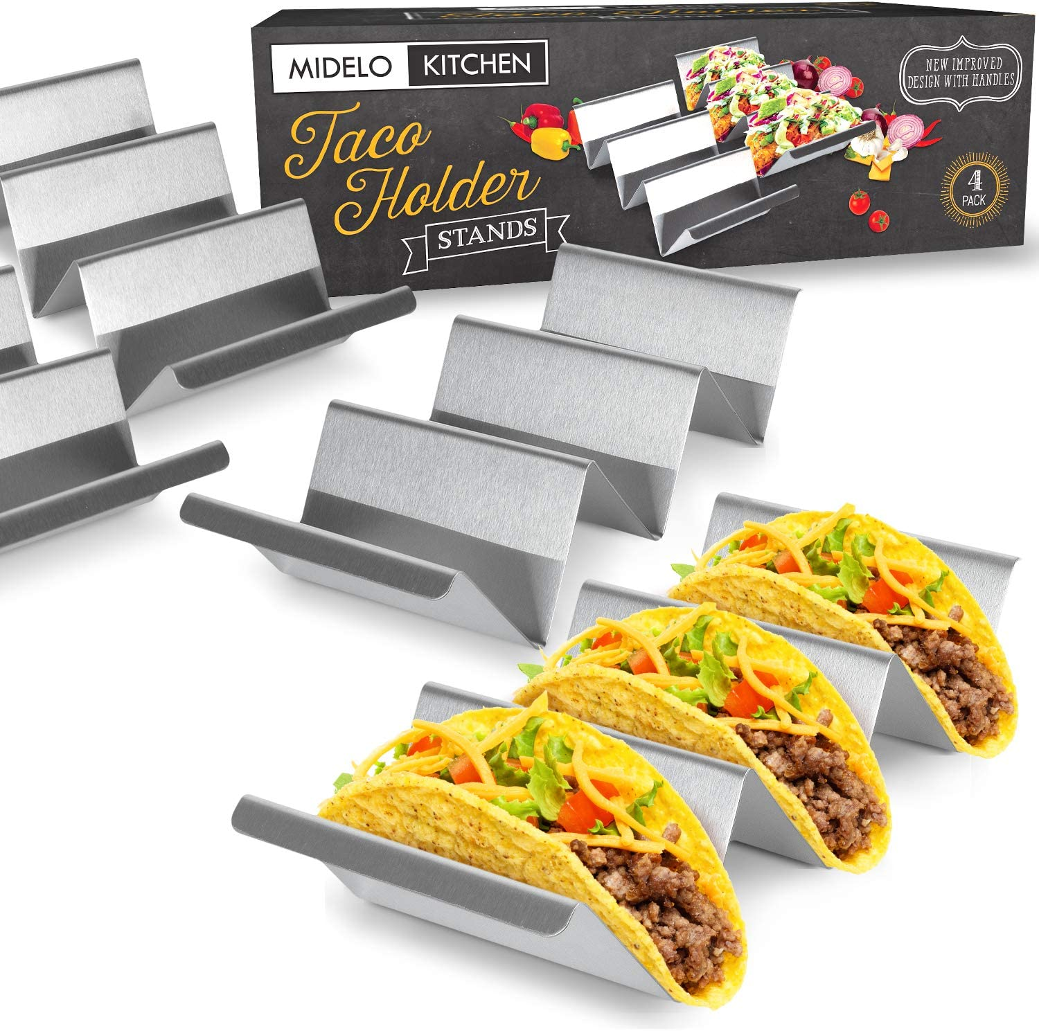 Kitchen 3//4 Slot Mexican Taco Holder Stainless Steel Display Food Stand Rack
