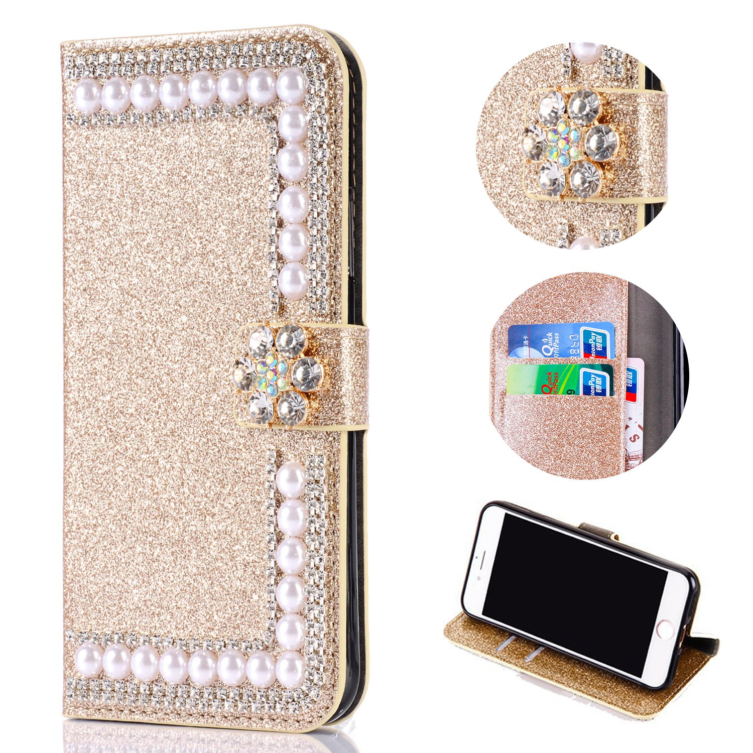 Bling Glitter Case for Samsung Galaxy J3 2018,Shinyzone Luxury Diamond [3D Flower Magnetic Buckle] [Stand Feature] Leather Wallet Protective Cover for Samsung Galaxy J3 2018,Golden by Shinyzone (Image #1)