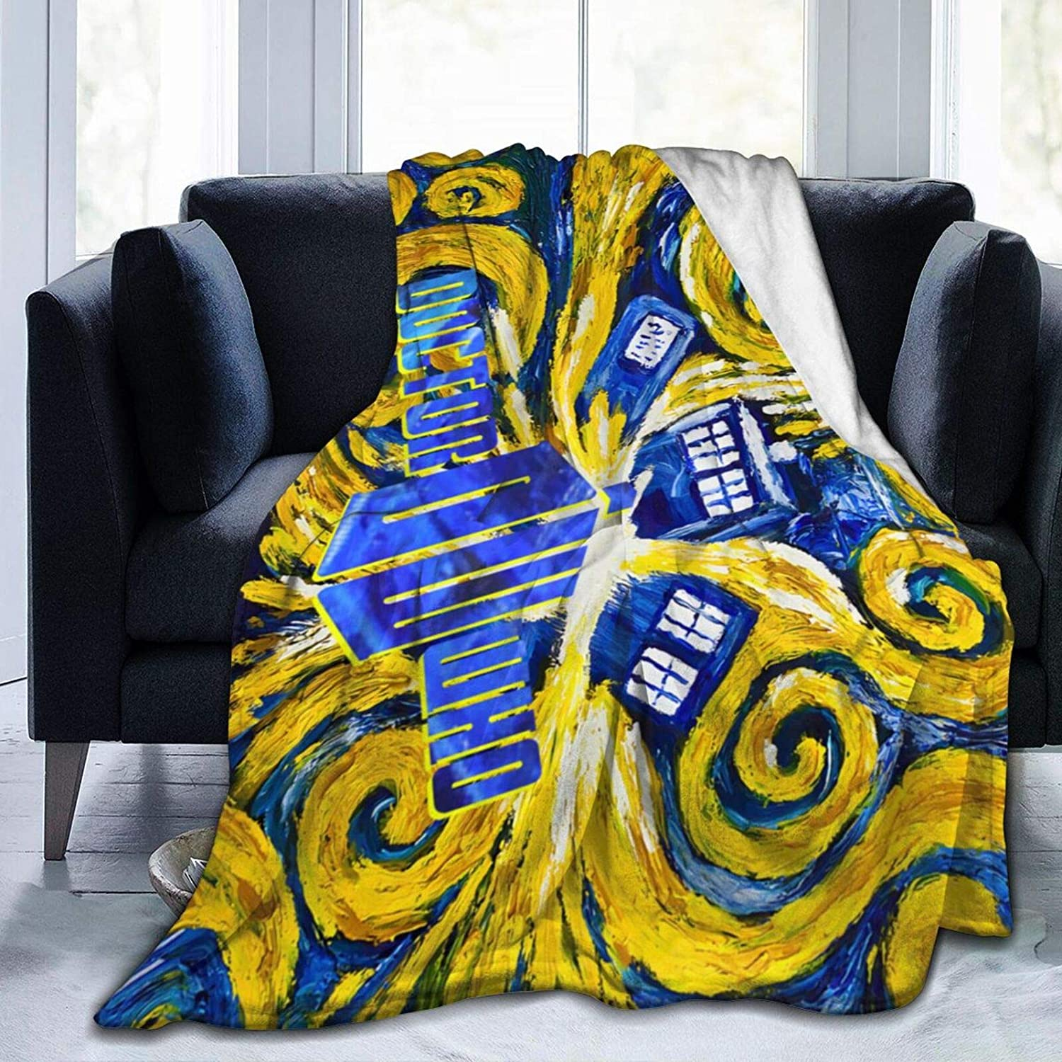 """Bestrgi Adults Kids Flannel Fleece Blanket D-o-c-tor W-h-o Christmas 3D Printing Bedroom Living Room Home Throw Blanket for Bed Couch Chair Sofa Travel 50""""x40"""" Decor All Seasons"""