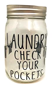 Laundry Change Piggy Bank Laundry money jar mason jar bank Laundry room Decor Mason Jar bank Coin Slot Lid