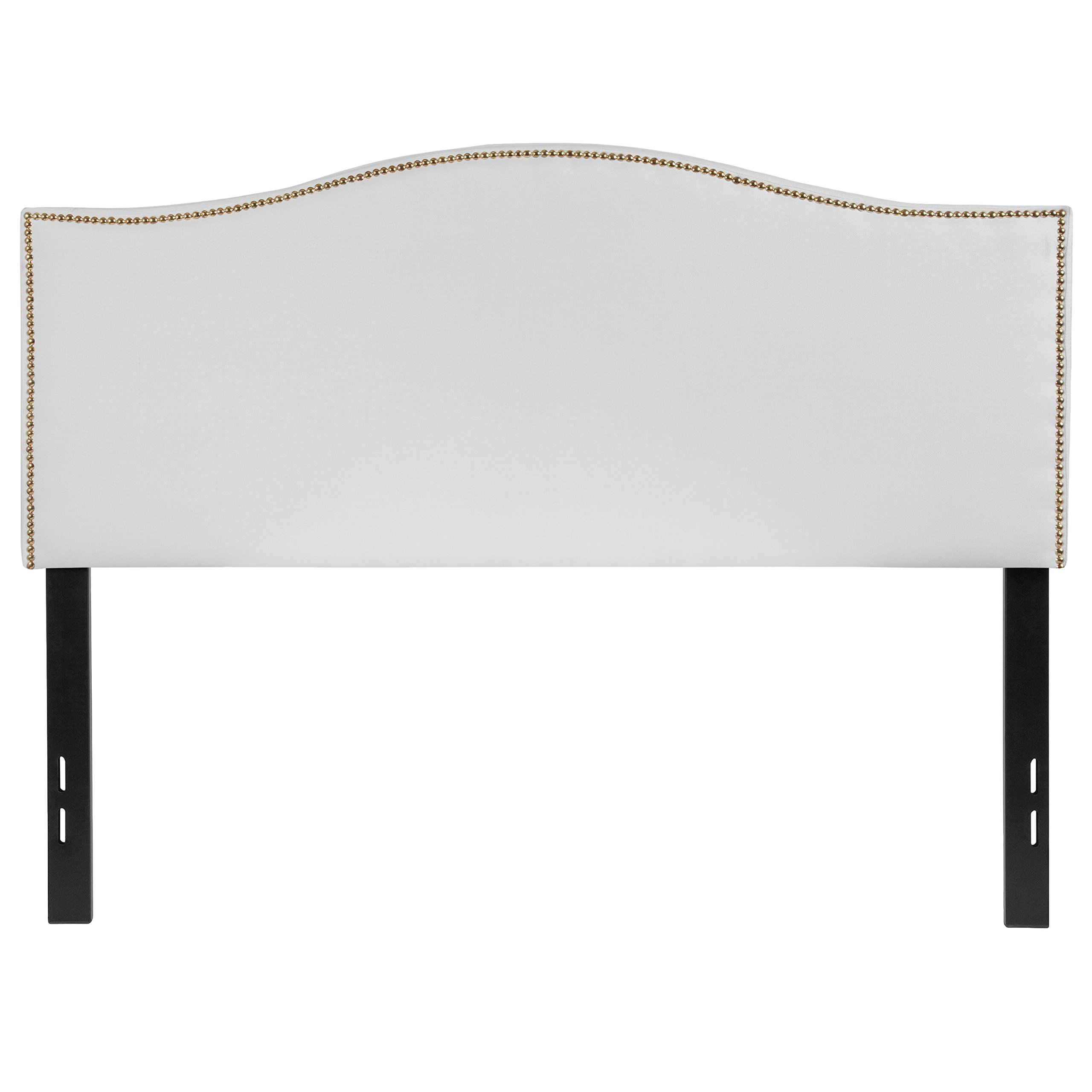 Flash Furniture Lexington Upholstered Full Size Headboard with Decorative Nail Trim in White Fabric