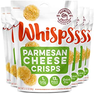 Whisps Parmesan Cheese Crisps | Keto Snack, Gluten Free, Sugar Free, Low Carb, High Protein | 2.12oz (6 Pack)