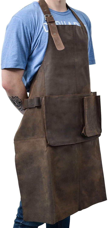 Gusti leder studio Sander Genuine Leather Apron Kitchen Grill BBQ Protector Vintage Dark Brown Unisex 2G27-L-20-9wp