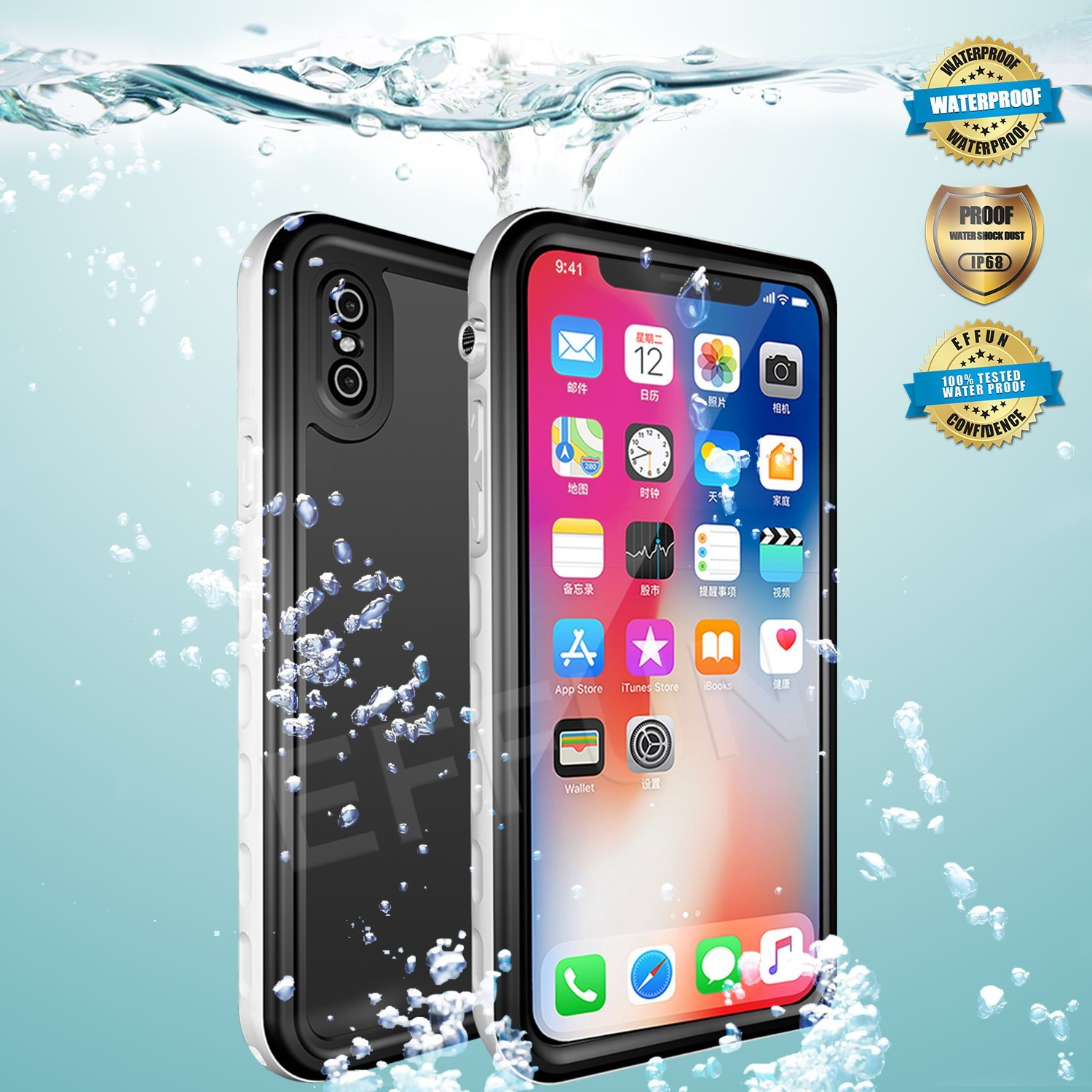 iPhone Xs Waterproof Case, iPhone X Waterproof Case, EFFUN Wireless Charging Support IP68 Certified Waterproof Shockproof Case with Phone Holder, PH Test Paper, Stylus Pen, Float Strap for iPhone Xs/X