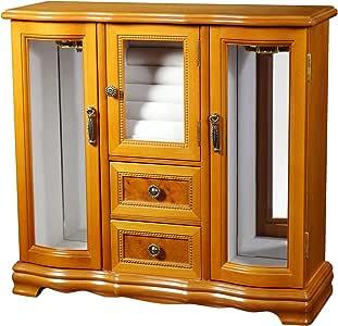 Mele Designs Jewelry Box Lyra Glass Door Jewelry Box, Burlwood Oak Finish