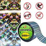 RRunzfon 350FT Bird Repellent Scare Tape Double Side Reflective Ribbon Defender to Deter Owl Pigeons Woodpeckers Nuisance Pests
