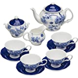 Grace Teaware Bone China 11-Piece Tea Set (Bali Blue)