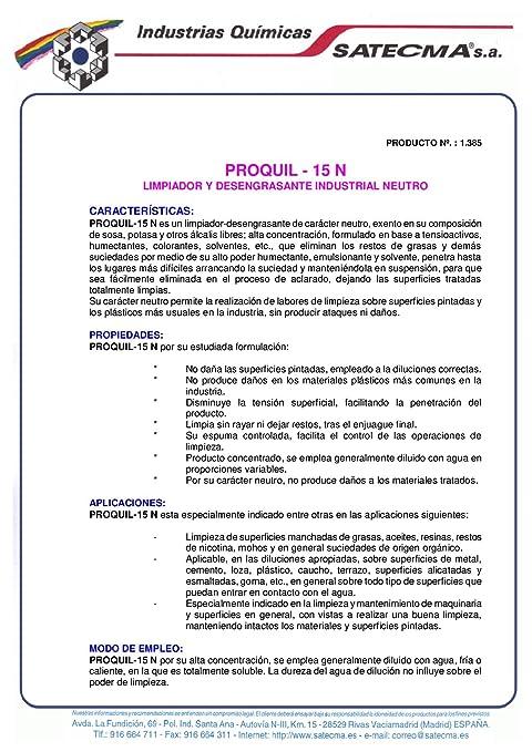 Limpiador desengrasante concentrado PROQUIL 15 N - SATECMA: Amazon.es: Bricolaje y herramientas