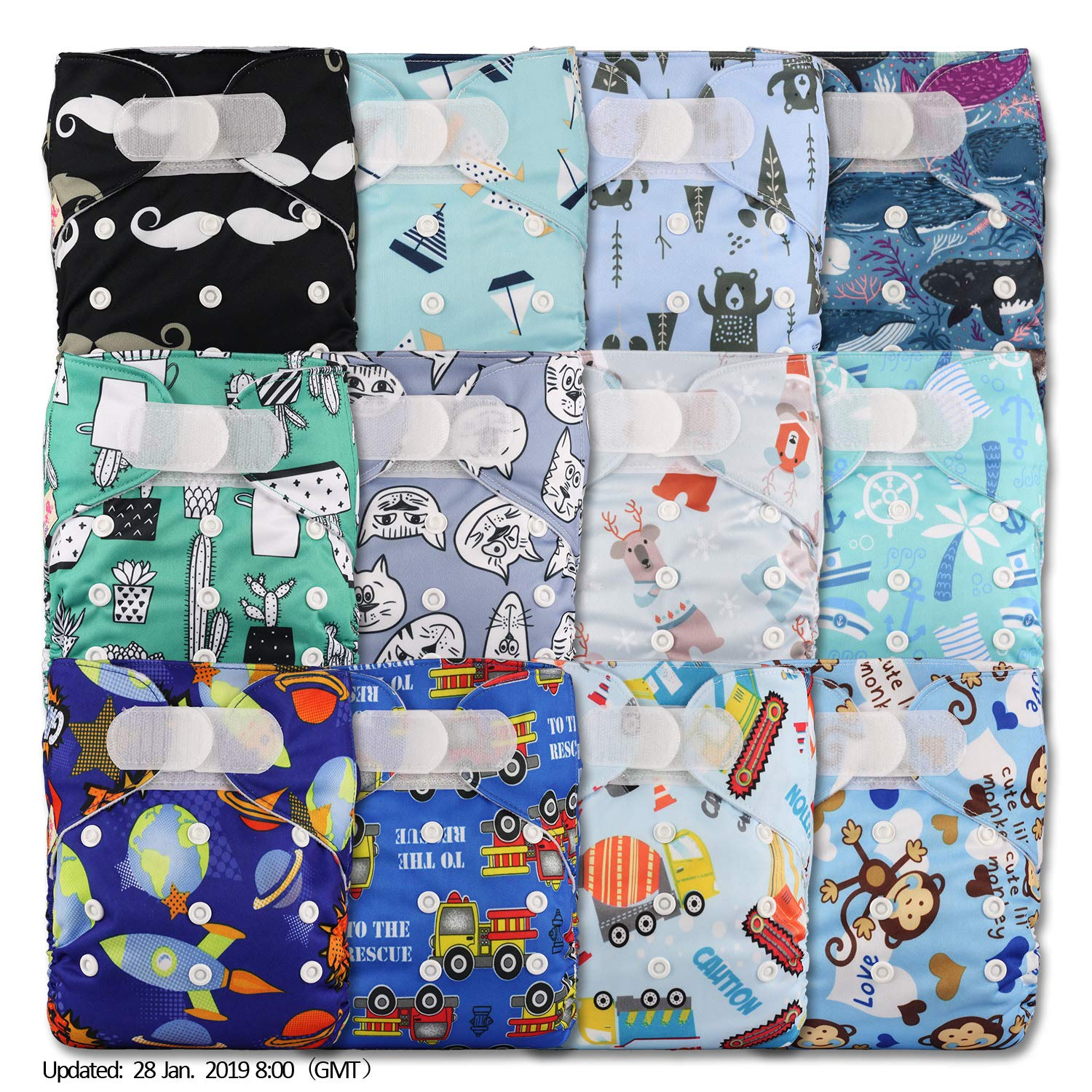 with 2 Bamboo Inserts Set of 1 Fastener: Hook-Loop Pattern 11 Littles /& Bloomz Reusable Pocket Cloth Nappy