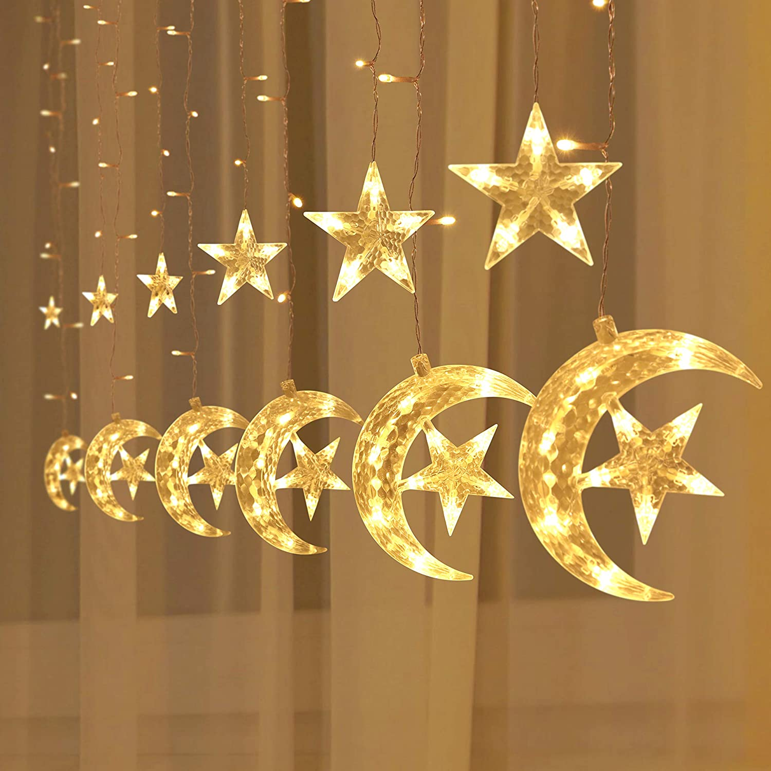 138 LED Moon Star Window Curtain String Lights Fairy Lights 8 Flashing Modes Decoration Remote Control for Christmas Home Holiday Festival Party Wedding Bedroom Indoor Outdoor Decor (Warm White)