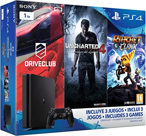 PlayStation 4 Slim (PS4) 1TB - Consola + Uncharted 4 + DriveClub + ...