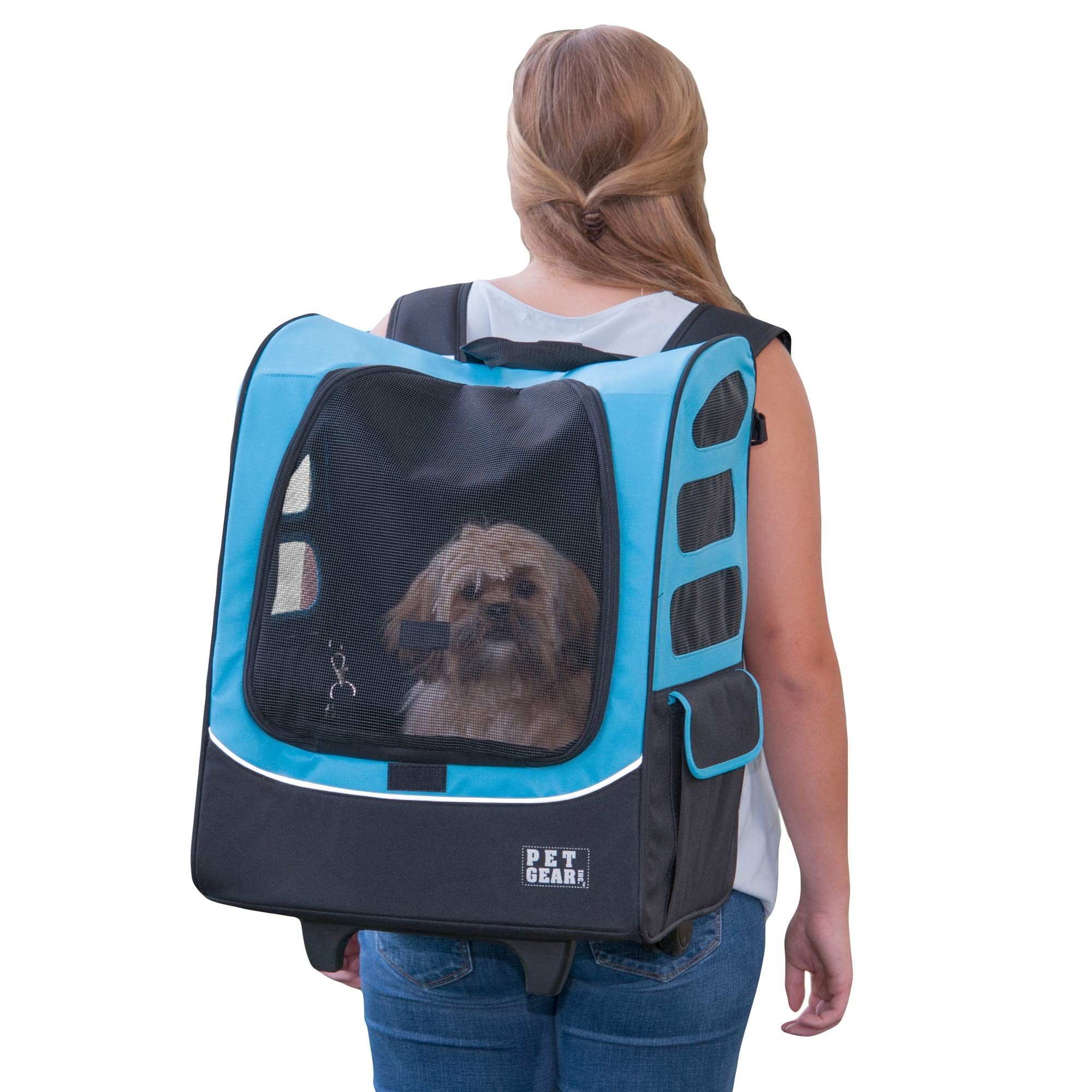 Pet Gear I-GO2 Roller Backpack, Travel Carrier, Car Seat for Cats/Dogs, Mesh Ventilation, Included Tether, Telescoping Handle, Storage Pouch, Extra Large Plus Traveler, Ocean Blue by Pet Gear