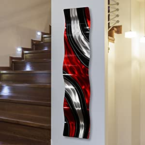 "Statements2000 Modern Red, Black and Silver Vibrant Metal Wall Wave Accent - Abstract Contemporary Hand-painted Home Office Decor Sculpture - Critical Mass Wave by Jon Allen - 46"" x 10"""