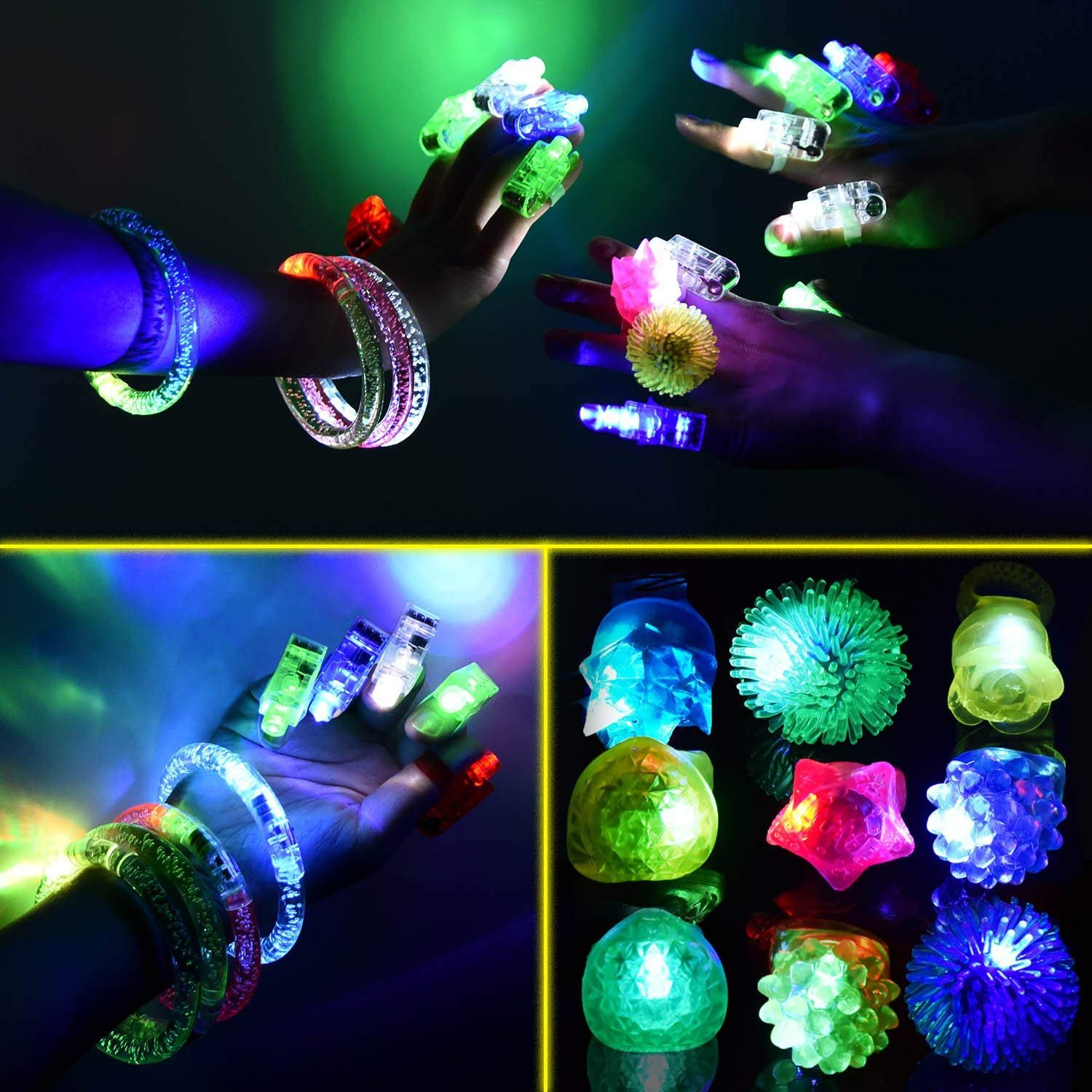 68 Pack LED Light Up Toys Halloween LED Glow Party Favors for Kids Glow in the Dark Party Supplies 4 Flashing Slotted Shades Glasses 10 Glow Rings 50 LED Finger Lights 5 LED Bracelets Christmas Gift by Godlike (Image #4)