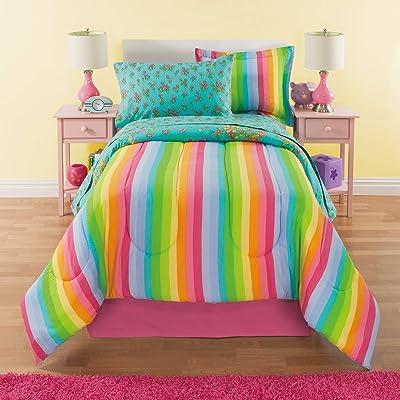 6bd7d24975f7 8 Piece Girls Pink White Unicorn Rainbow Butterfly Comforter Full ...