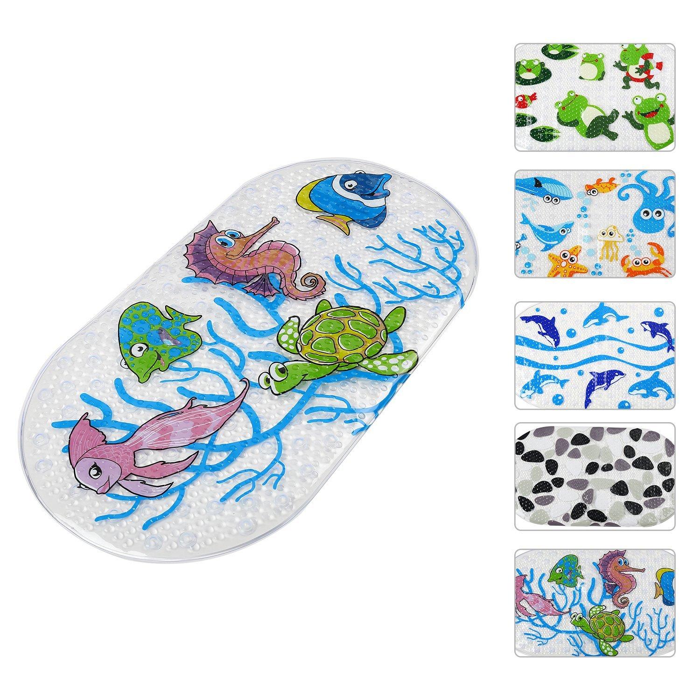 FUNK Bath Mat for Shower Non Slip Bath Mat for Kids Baby, Anti Bacterial Cute Cartoon Print Shower Mat,Phthalate Free,Latex and Machine Washable Oval Bathtub Mat-Kids Animal World(27x15 Inch)