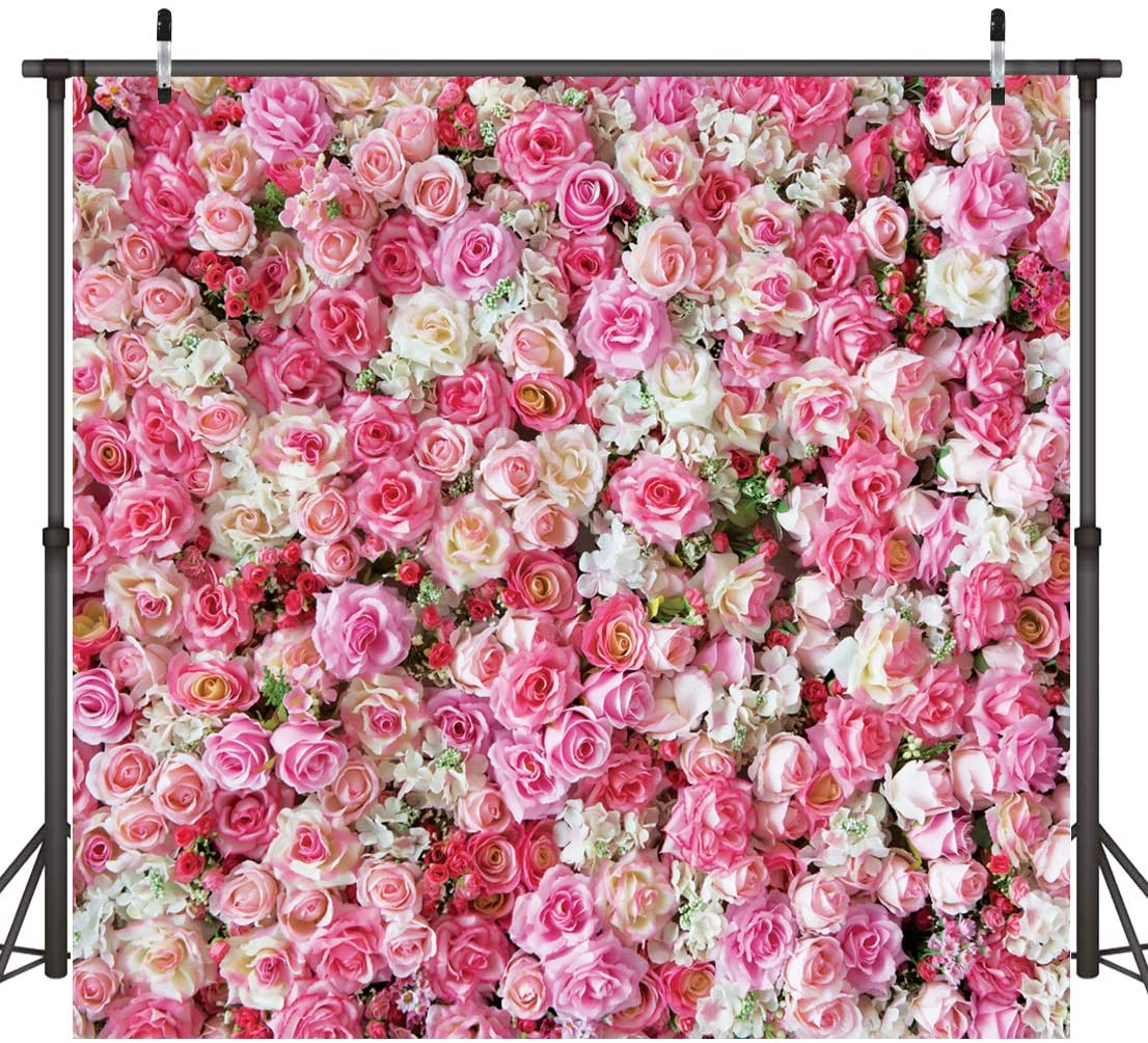 CdHBH 10X8ft Valentines Day Backdrop Wedding Backdrops Pink Red Rose Flowers Photography Backdrop Studio Photographers Background Props 10938