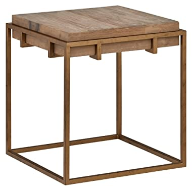 Stone & Beam Sparrow Industrial  Square Side Table, 23.6 W, Wood and Gold