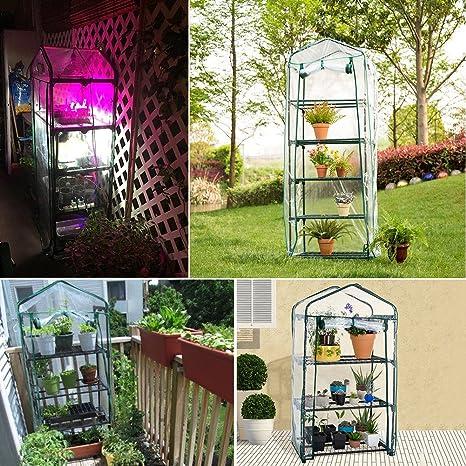 twinkbling planta cubierta de efecto invernadero para jardín planta flor (no incluido soporte de hierro), A:126 x 49 x 69cm: Amazon.es: Jardín