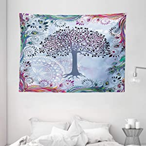 """Ambesonne Nature Tapestry, Tree of Life Motif Peacock Feathers Tribal Vintage Prehistoric Flora Illustration, Wide Wall Hanging for Bedroom Living Room Dorm, 80"""" X 60"""", Blue"""
