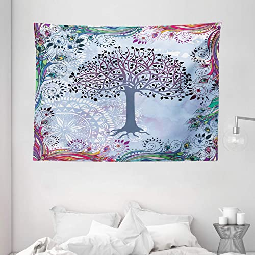 Ambesonne Nature Tapestry, Tree of Life Motif Peacock Feathers Tribal Vintage Prehistoric Flora Illustration, Wide Wall Hanging for Bedroom Living Room Dorm, 80 X 60 , Blue