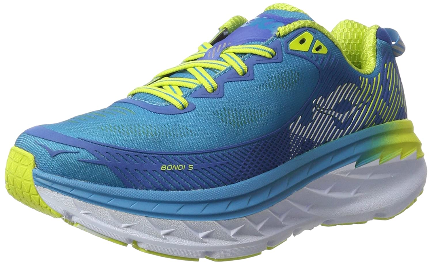 HOKA ONE ONE Women's Bondi 5 Running Shoe B01H6A88R8 8.5 B(M) US|Blue Jewel/Acid