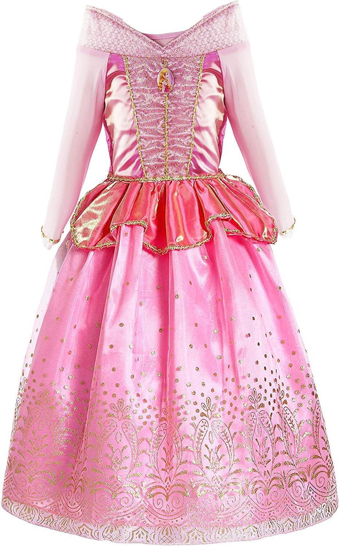 KABETY Fille Robe d/'Aurore pour Enfant Princesse Aurora Costume Robe de soir/ée avec