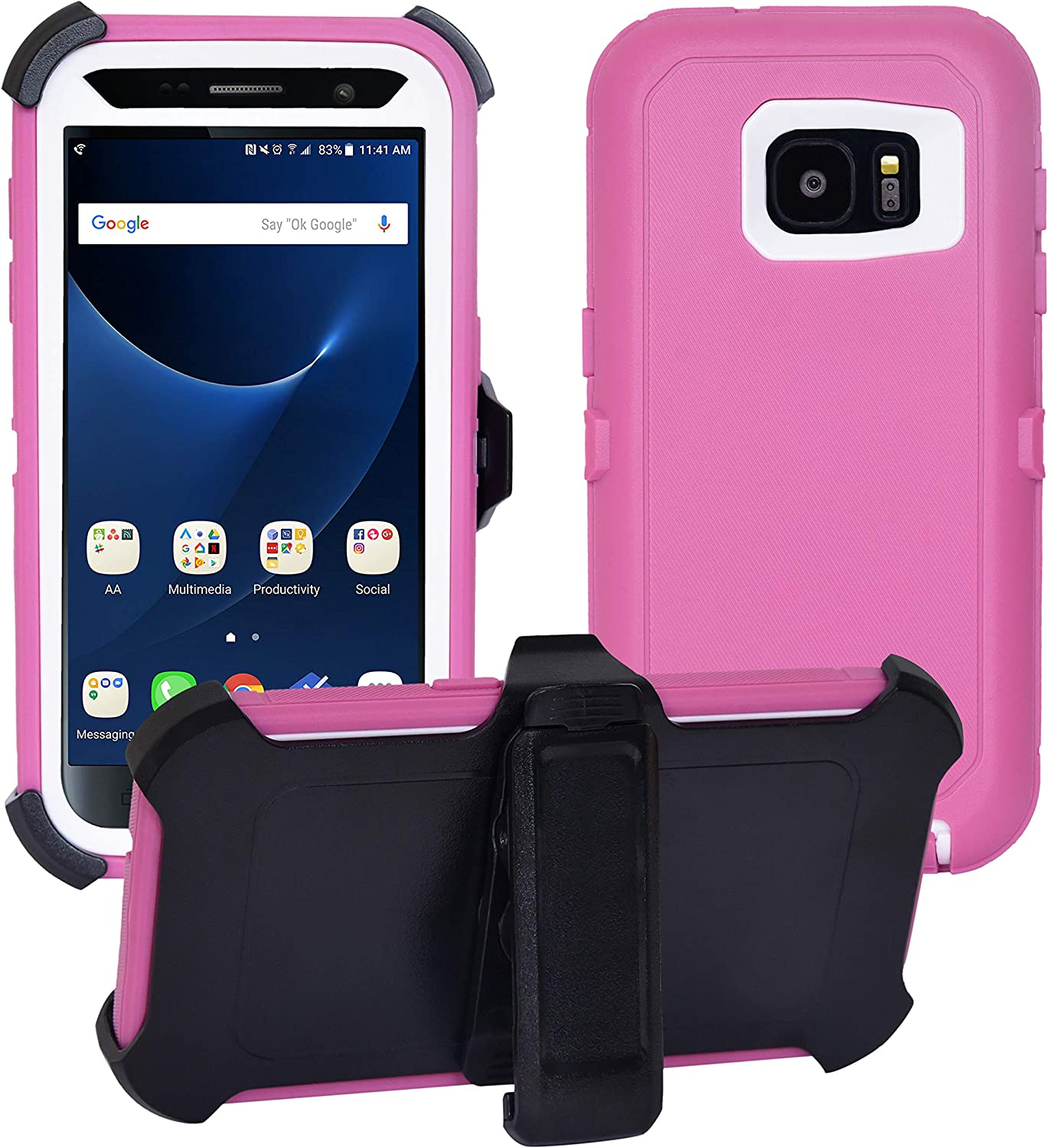 Samsung Galaxy S7 Cover | 2-in-1 Screen Protector & Holster Case | Full Body Military Grade Edge-to-Edge Protection with carrying belt clip| Drop Proof Shockproof Dustproof | Pink / White