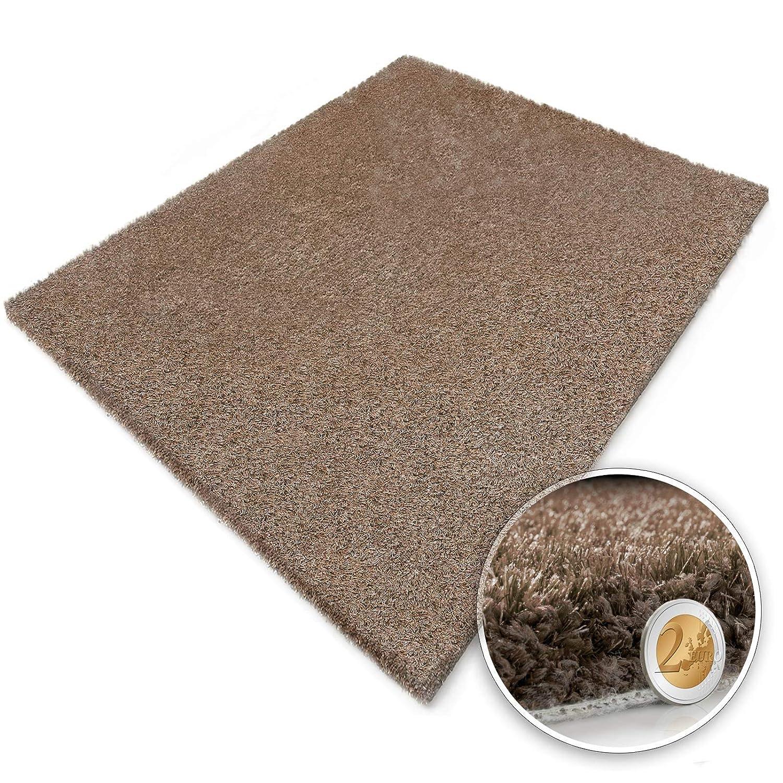 Langflor Shaggy Teppich zum Wohlfühlen   Beige   Qualitätsprodukt aus Deutschland   in 23 Größen (90 x 160 cm)