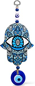 Hamsa Blue Good Luck Hand-Shaped Home Blessing Wall Hanging Decor Evil Eye Protection Amulet