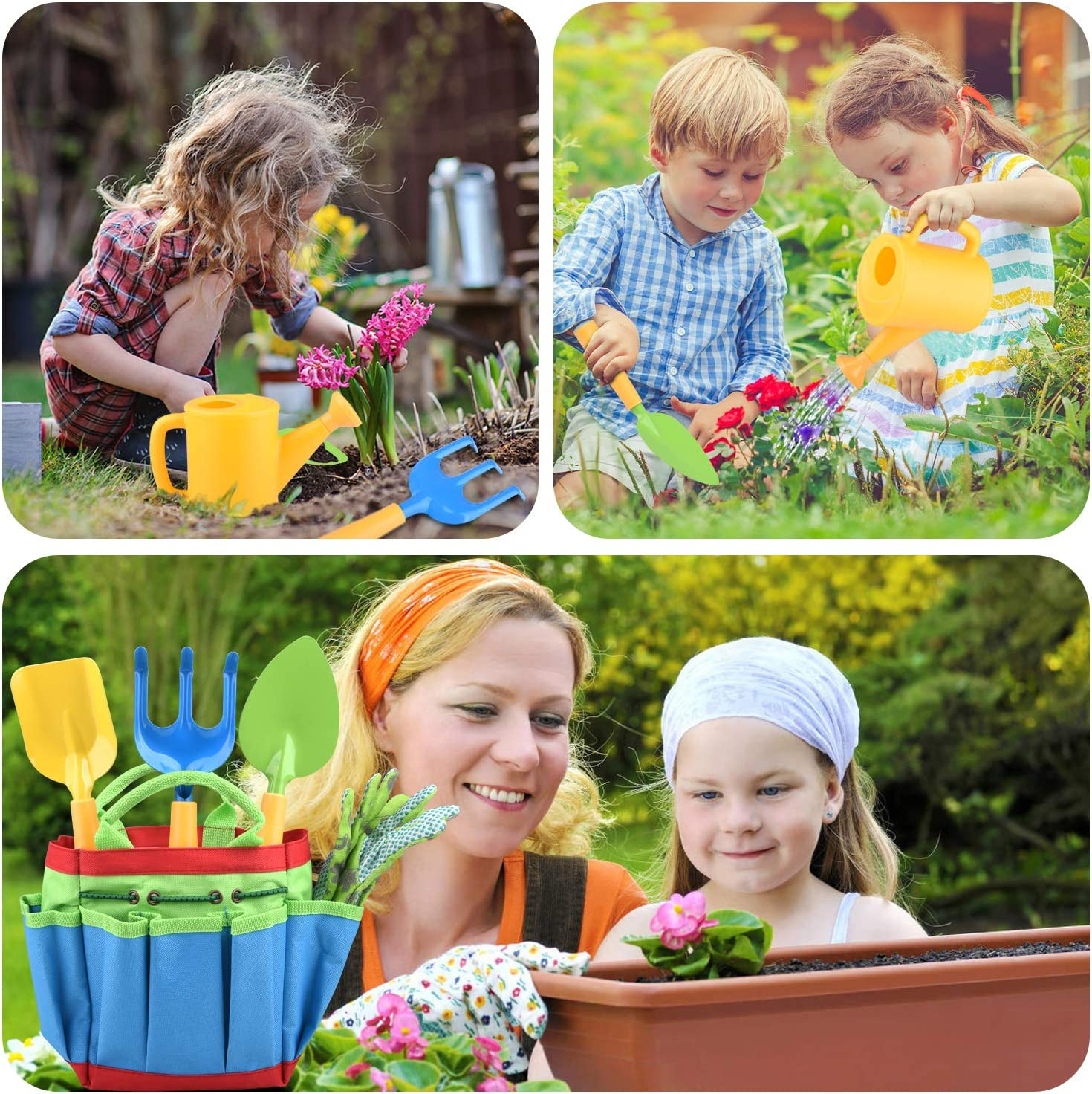 NOUVCOO Gardening Tools Set for Kids, 7 PCS Garden Tools Covering Garden Sturdy Tote, Watering Can, Shovel, Rake, Fork, Children Gardening Gloves and a Kids Delightful Booklet How to Garden, NC27