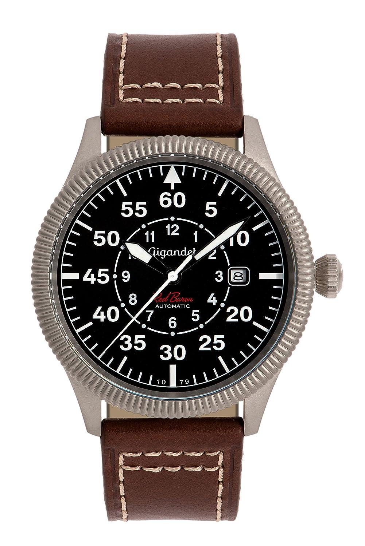 Gigandet Automatik Herren-Armbanduhr Red Baron I Fliegeruhr Uhr Datum Analog Lederarmband Braun Schwarz G8-001