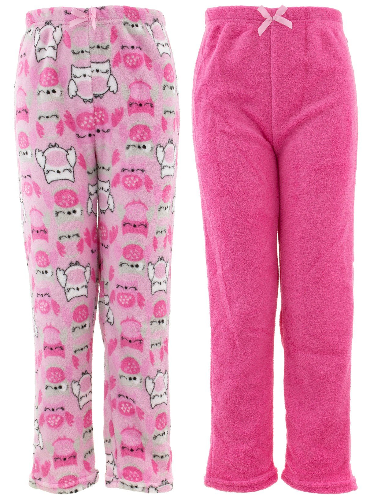 Chili Peppers Big Girls' Pink Owl 2-Pack Pajama Pants XL/14-16