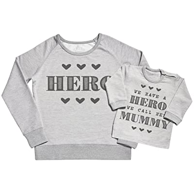 SR - We Have a Hero We Call Her Mummy Women's Sweater - Mummy Gift - Gift for Mum & Baby Sweater Gift Set