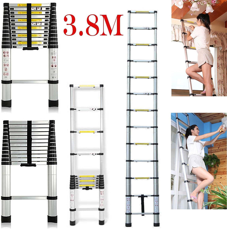 2017 última diseño 3,8 m multiusos escalera telescópica de aluminio DIY extensión Extender 13 pasos – Portátil plegable: Amazon.es: Bricolaje y herramientas