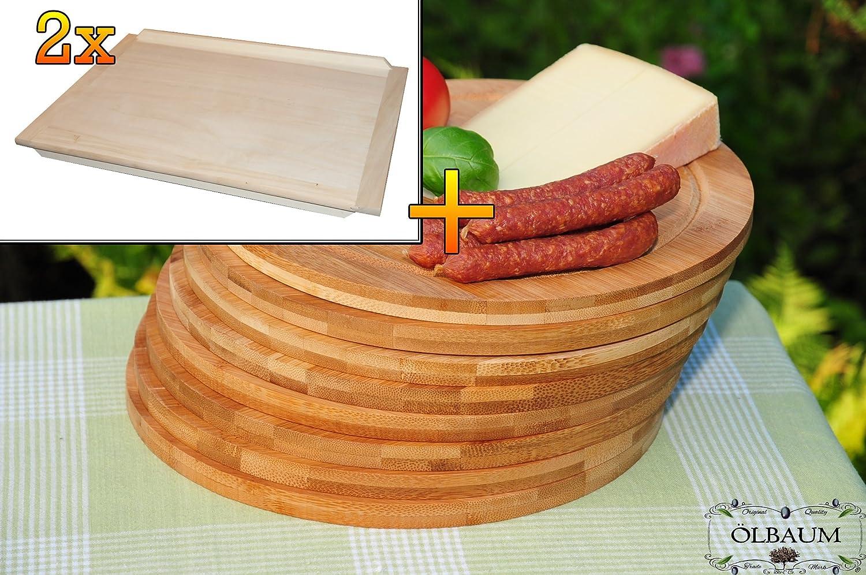 Bruschetta-Schneidebrett 2 Stück aus Buche - massive, hochwertige ca. 16 mm starke Schnitzelklopfbretter natur, Maße viereckig je ca. 38 cm x 51 cm & 8 Stück Schneidebrett - massive, hochwertige ca. 12 mm starke Picknick-Grill-Holzbretter mit Rillung natur, dunkles Bambus, Maße rund je ca. 25 cm Durchmesser als Bruschetta-Servierbrett, Brotzeitbretter, Steakteller schinkenbrett rustikal, Schinkenteller von BTV, Brotzeitteller Bayern, Wildbrett, Wildbret, Picknick Grill-Set