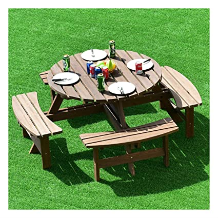 Astonishing Amazon Com 8 Seat Wood Picnic Table Beer Dining Seat Bench Gamerscity Chair Design For Home Gamerscityorg