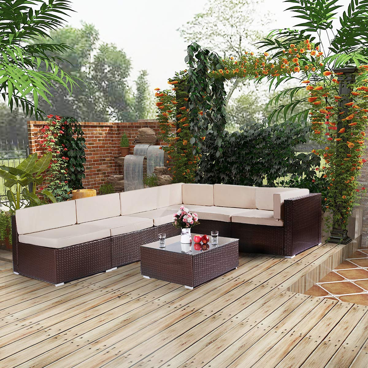 Esright 7 Pieces Patio PE Rattan Wicker Sofa Sectional Furniture Wicker Chair Conversation Set with Cushions and Glass Top Tea Table,Brown by Esright