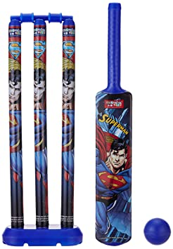 Superman Large Cricket Set with 1 Plastic Bat and Ball, 3 Wickets, Base and Bail