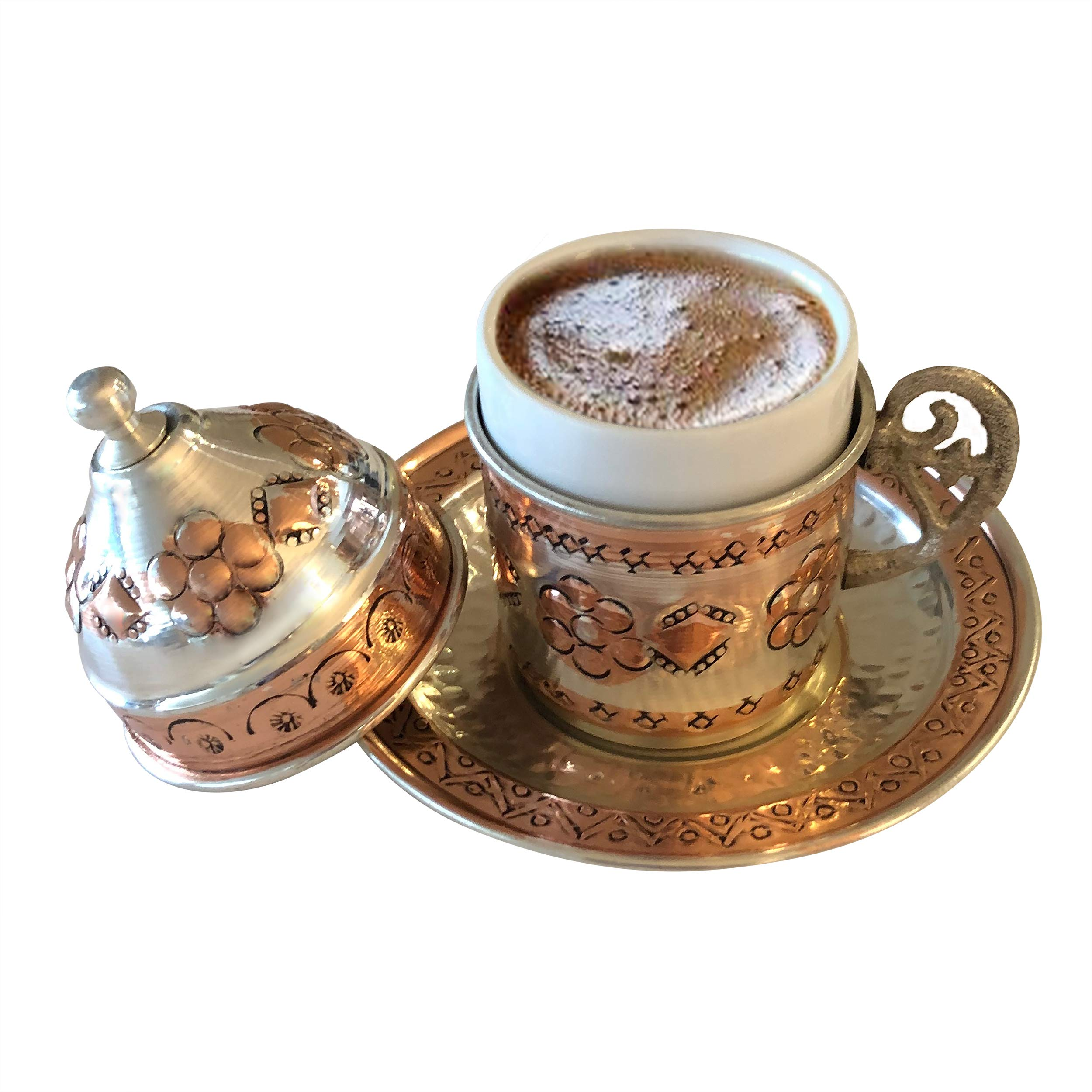 Copper Turkish Coffee Set, Six Greek Armenian Arabic Espresso Porcelain Cups Tray Sugar Bowl, with Silver-plate detail, Handcrafted by Mandalina Magic by Mandalina Magic (Image #8)