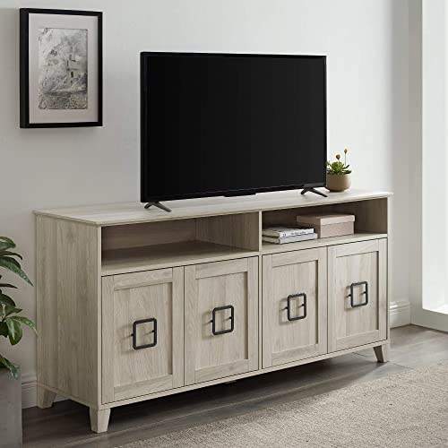 Walker Edison Furniture Company Modern Farmhouse Squared Wood Stand with 4 Cabinet Doors 65 Flat Screen Universal TV Console Living Room Storage Shelves Entertainment Center, 58 Inch, Birch