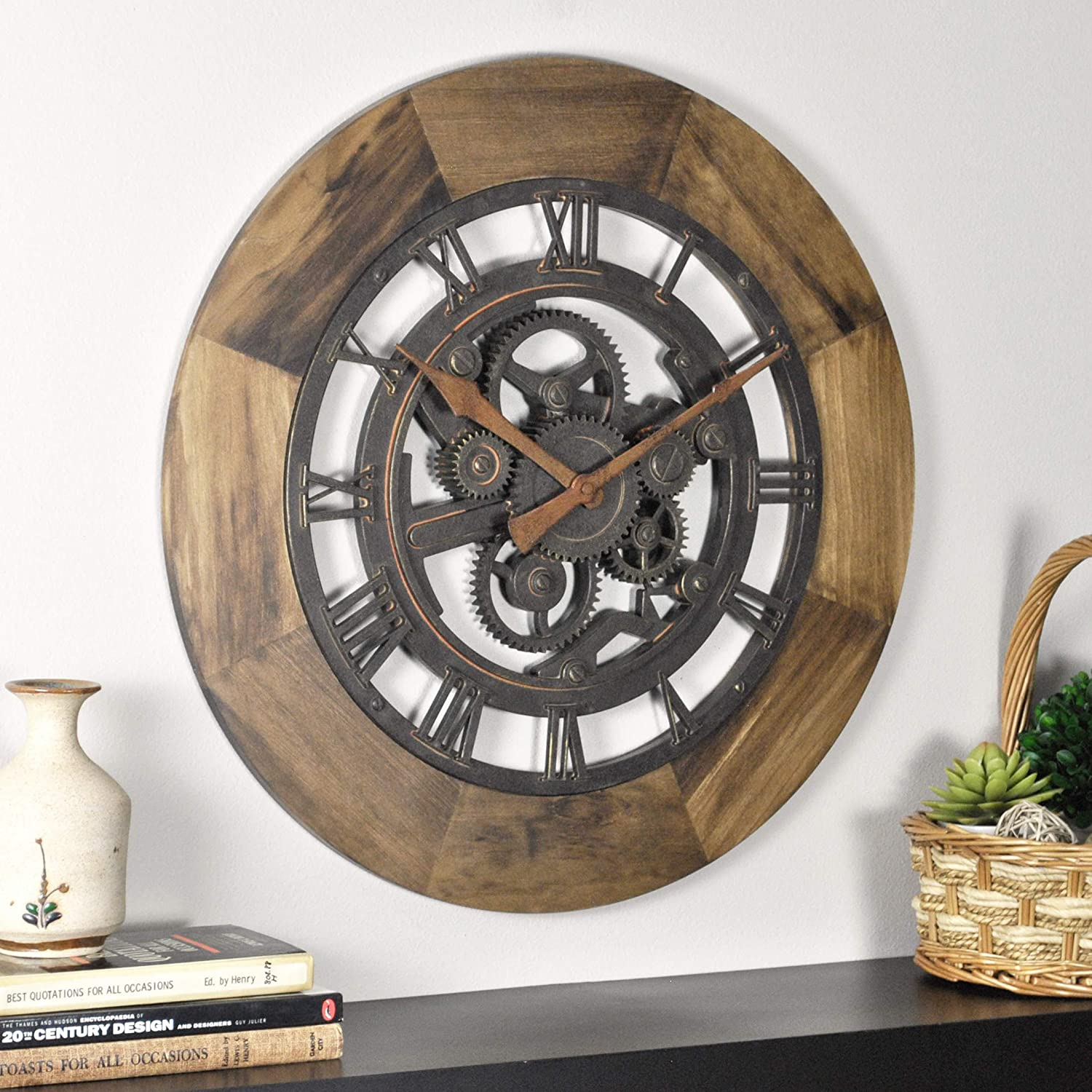 "FirsTime & Co. Wood Gear Wall Clock, 19"", Aged Brown"