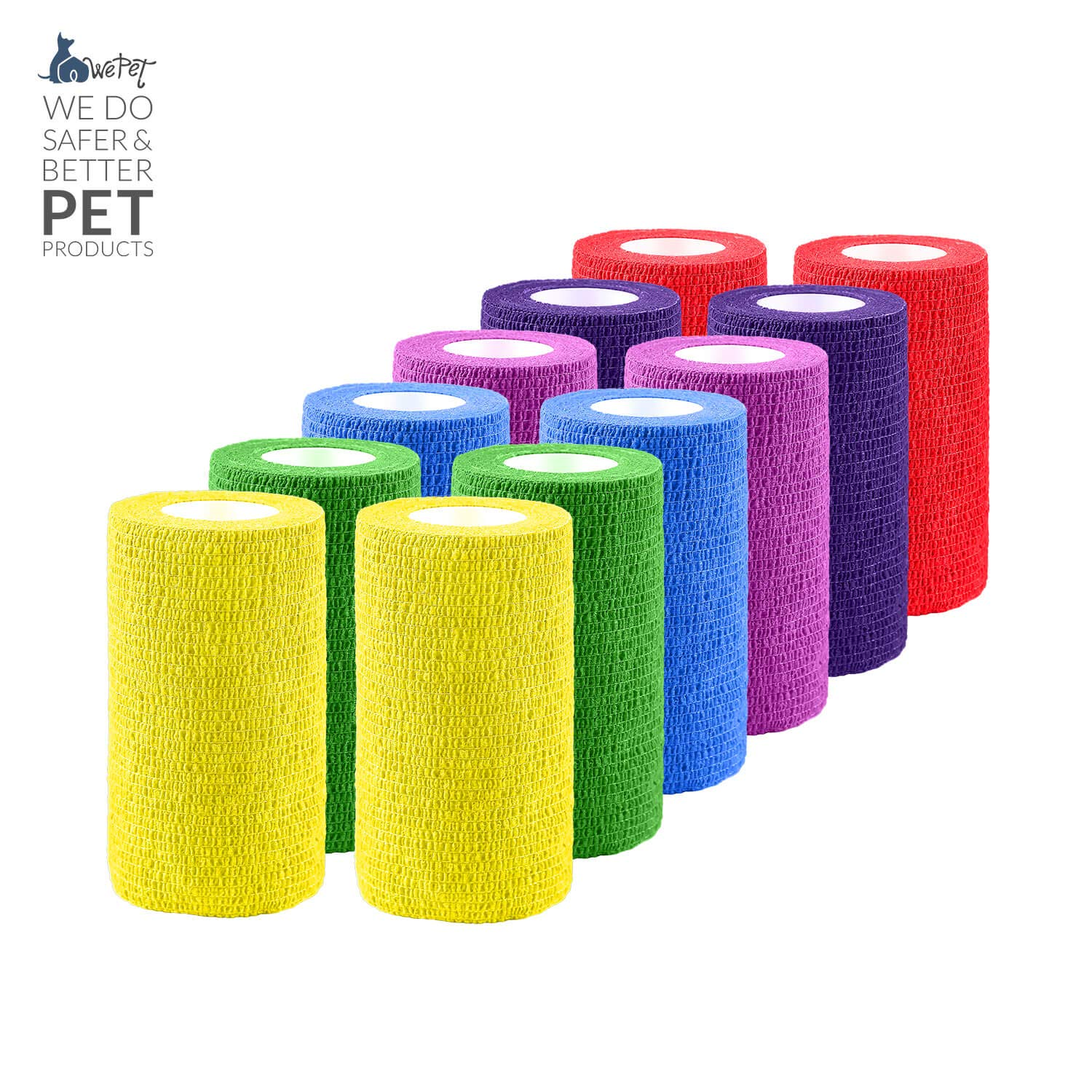 WePet Vet Wrap, Vet Tape Bulk Self-Adherent Gauze Rolls Non-Woven Cohesive Bandage First Aid for Dogs Cats Horses Birds Animals Strong Sports Tape for Wrist Healing Ankle Sprain & Swelling 4 Inch x 12 by WePet
