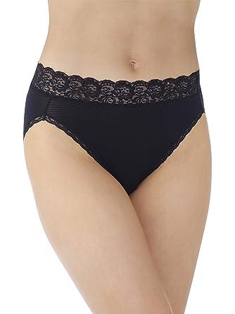 0c5c533d11ba Vanity Fair Women's Flattering Lace Hi Cut Panty 13280, Midnight Black  Novelty, Medium/